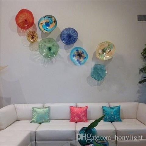 Modern Flower Plates Wall Art Colorful Tiffany Style Blown Glass Within Glass Plate Wall Art (Image 7 of 10)