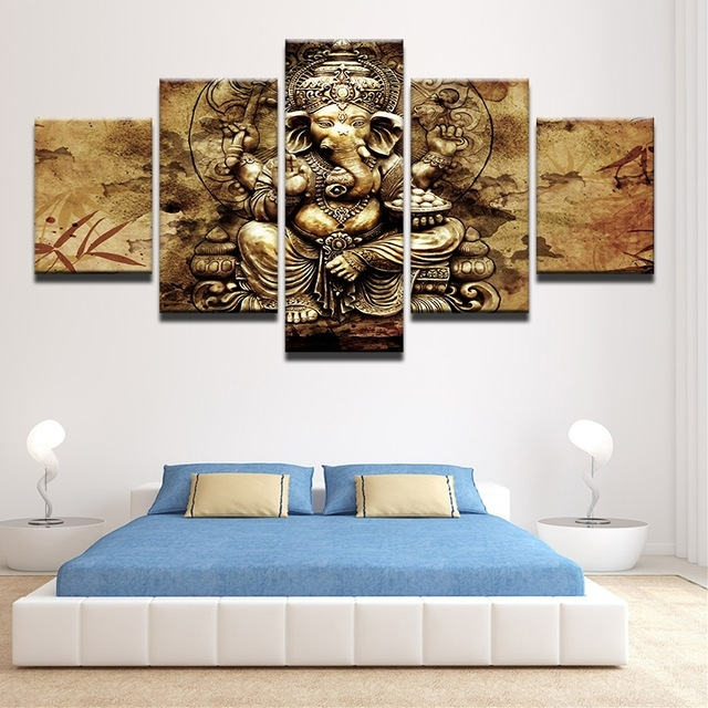 Modern Hd Printed Canvas Posters Home Decor 5 Pieces India Ganesha In Modern Framed Wall Art Canvas (Image 7 of 10)