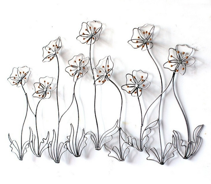 Modern Home Decor Metal Wall Art Creative Metal Flowers Golden Iron Regarding Metal Flowers Wall Art (View 7 of 10)