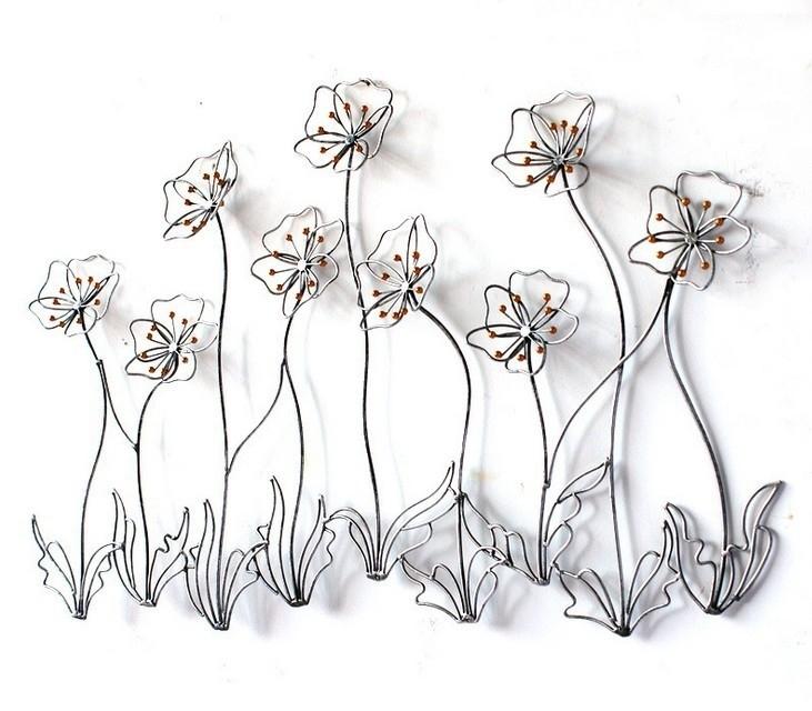 Modern Home Decor Metal Wall Art Creative Metal Flowers Golden Iron Throughout Metal Flower Wall Art (Image 7 of 10)