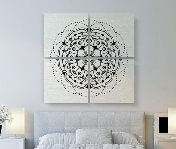 Modern Mandala Canvas Print, Large Canvas Art, 4 Set Square Canvas Within Mandala Wall Art (Image 10 of 10)