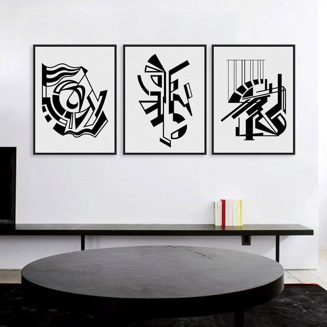 Modern Minimalist Nordic Black White Symbol A4 Large Art Prints Intended For Black Wall Art (Image 6 of 10)