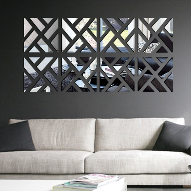 Modern Mirror Stick Diy Acrylic Removable Mirror Stick Wall Art With Regard To Stick On Wall Art (Image 5 of 10)