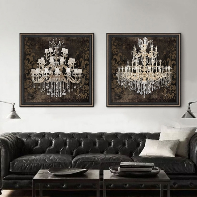 Modern Still Life Painting Canvas Art Crystal Chandelier Pattern Within Chandelier Wall Art (Image 7 of 10)