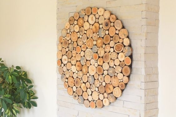 Modern Wall Wood Art Round Wooden Wall Wooden Decor, Tree Rounds Inside Round Wood Wall Art (Image 4 of 10)
