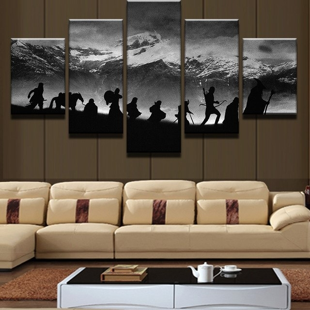Modular Wall Art Oil Pictures Frame Modern Home Decor 5 Pieces Lord Intended For Lord Of The Rings Wall Art (Photo 6 of 10)