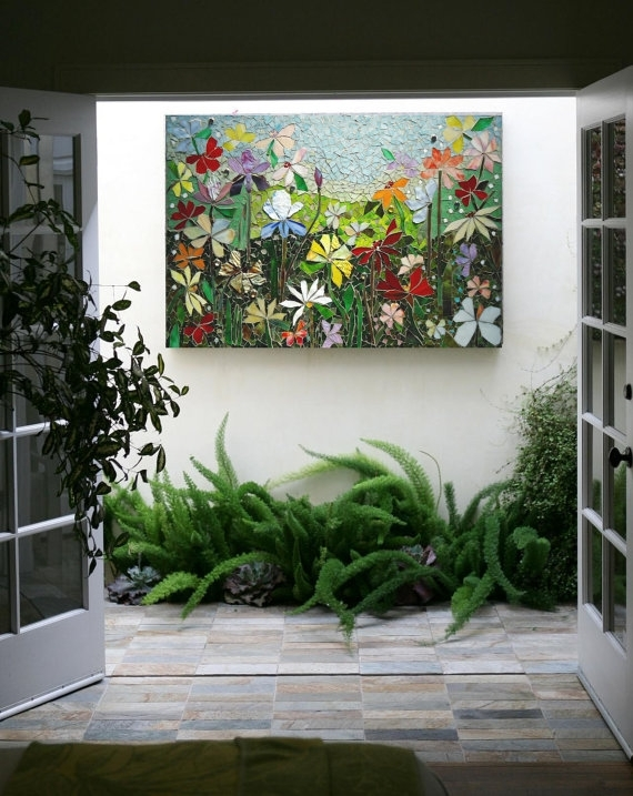 Mosaic Wall Art Stained Glass Wall Decor Floral Garden Indoor For Stained Glass Wall Art (Image 8 of 10)