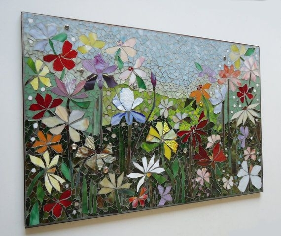 Mosaic Wall Art Stained Glass Wall Decor Floral Garden Indoor Inside Mosaic Wall Art (Image 7 of 10)