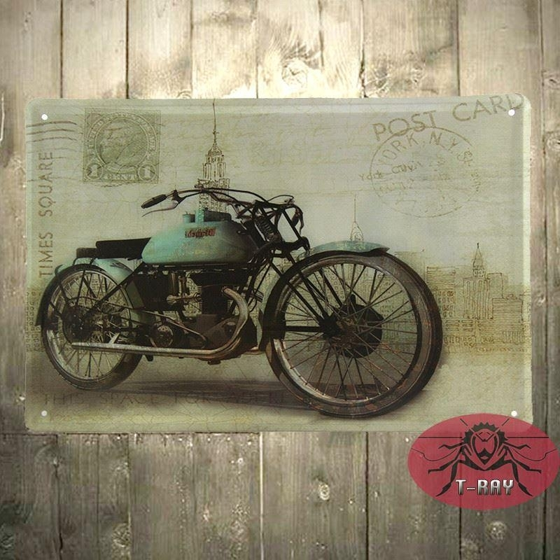 Motorcycle Wall Mural Garage Oil Station Tin Signs Wall Art Decor Pertaining To Motorcycle Wall Art (Image 6 of 10)