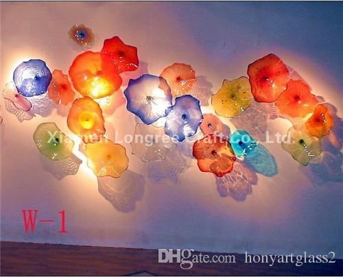 Multi Color Blown Glass Hanging Wall Plates Wedding Decorative Glass Intended For Blown Glass Wall Art (Image 9 of 10)