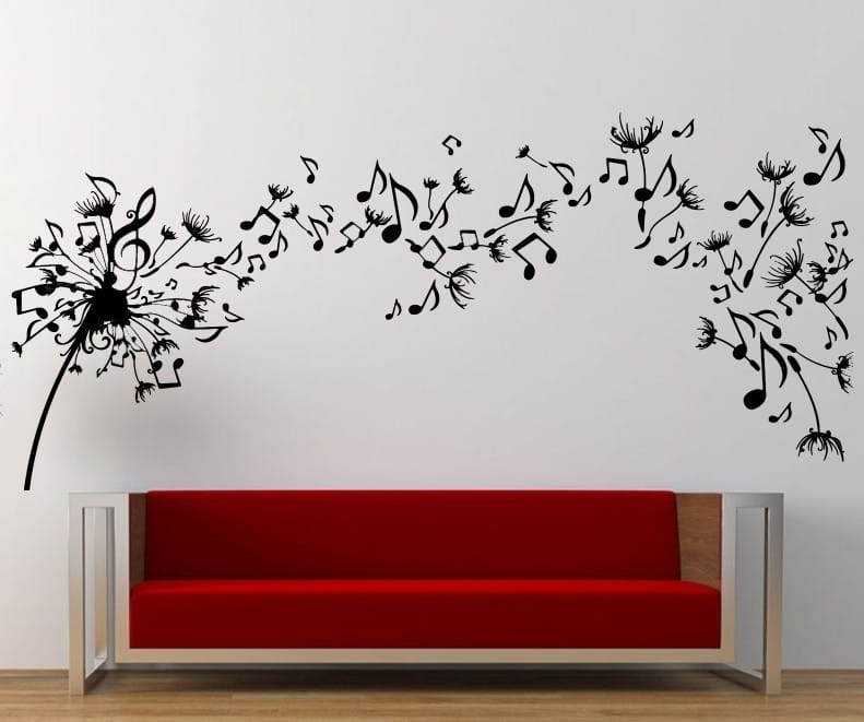 Music Dandelion Wall Art Decal | Wall Decal | Wall Art Decal Within Dandelion Wall Art (Image 7 of 10)