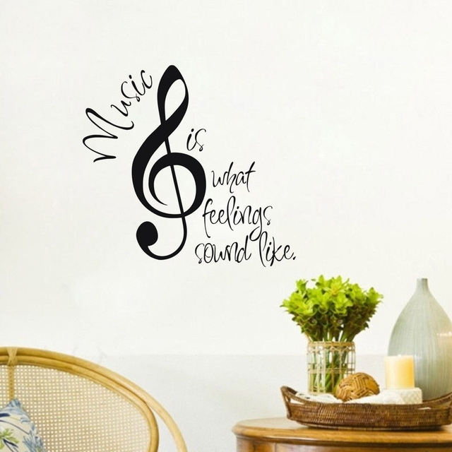 "Music Wall Stickers Home Decor ""music Is What Feelings Sound Like Intended For Music Wall Art (Image 8 of 10)"