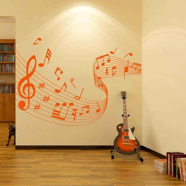 Musical Note Score Wall Stickers Music Wall Art With Regard To Music Wall Art (Image 9 of 10)