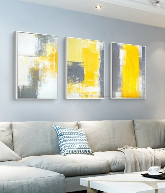 Muya 3 Piece Canvas Painting Abstract Oil Painting Handmade Bright Pertaining To Yellow Wall Art (View 6 of 10)