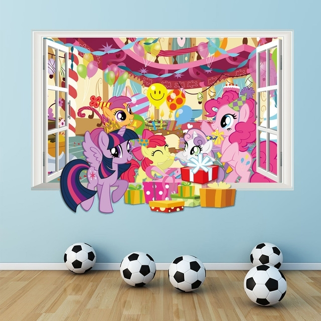 My Little Pony Wall Decals For Kids Room 3D Window Stickers Diy With Regard To My Little Pony Wall Art (Image 5 of 10)