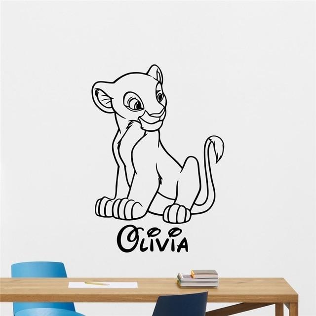Nala Custom Name Decal Wall Sticker Lion King Wall Art Home Decor Pertaining To Lion King Wall Art (Image 7 of 10)