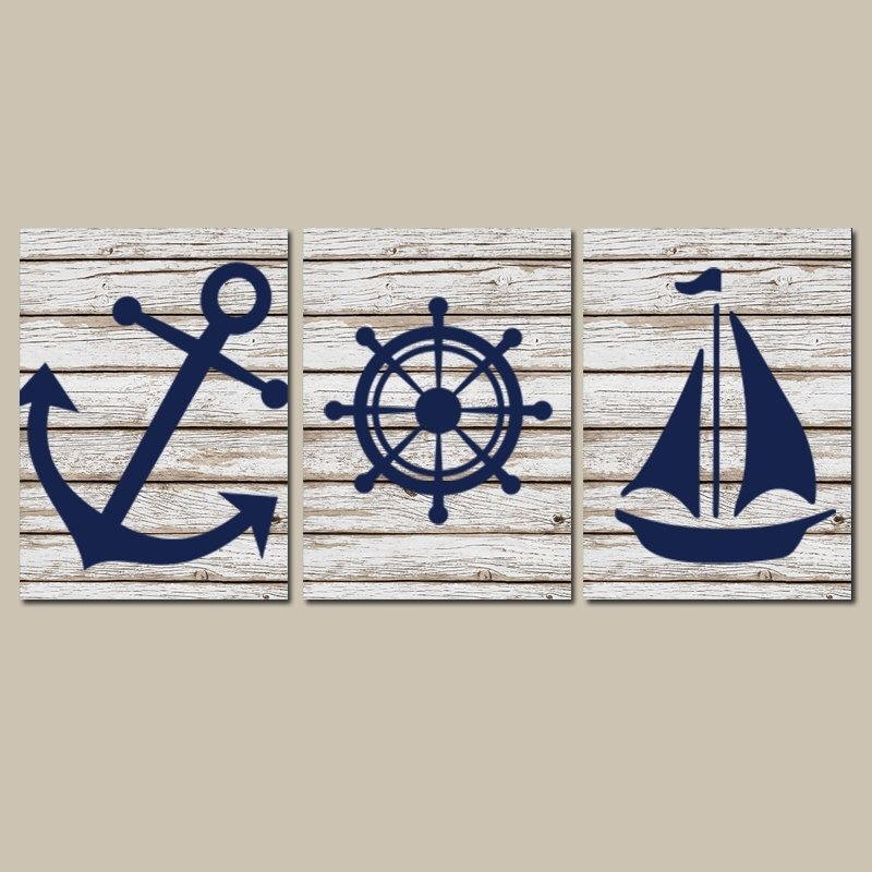 Nautical Nursery Art, Nautical Wall Decor, Anchor Sailboat Canvas Or With Regard To Nautical Wall Art (View 2 of 10)