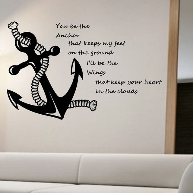 Nautical Quotes Wall Stickers Anchor Home Decorative Vinyl Wall Regarding Vinyl Wall Art (View 7 of 10)