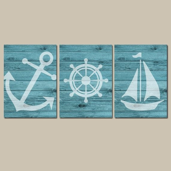 Nautical Wall Art, Nautical Canvas Or Print, Nautical Nursery Decor Within Nautical Wall Art (Photo 1 of 10)