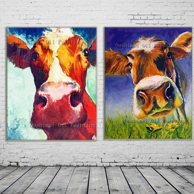 New 2017 Handmade Modern Mural Picture On Canvas Wall Art Cow Pertaining To Cow Canvas Wall Art (Photo 4 of 10)