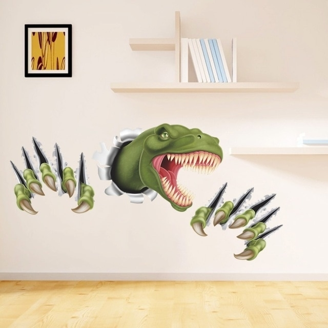 New 3D Stereo Dinosaur Break Through Wall Art Mural Poster Through Pertaining To Dinosaur Wall Art (Image 9 of 10)