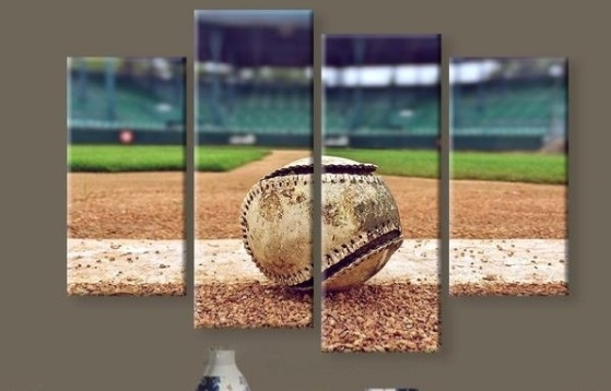 New 5 Pieces/sets Canvas Art Canvas Paintings Hd Baseball Stadium With Baseball Wall Art (Image 7 of 10)