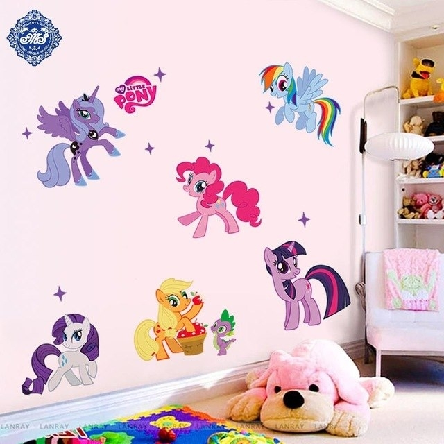New Arrival Kid Cartoon Wall Stickers My Little Pony 6 Ponies Wall For My Little Pony Wall Art (Image 8 of 10)