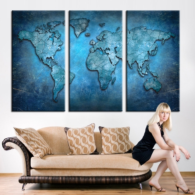 New Arrival Modular Large Triptych Wall Art Canvas World Map In Triptych Wall Art (Image 3 of 10)