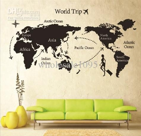 New Arrive 80 * 140 Travel World Map Wall Sticker Living Room Wall For Wall Art Stickers World Map (Image 6 of 10)