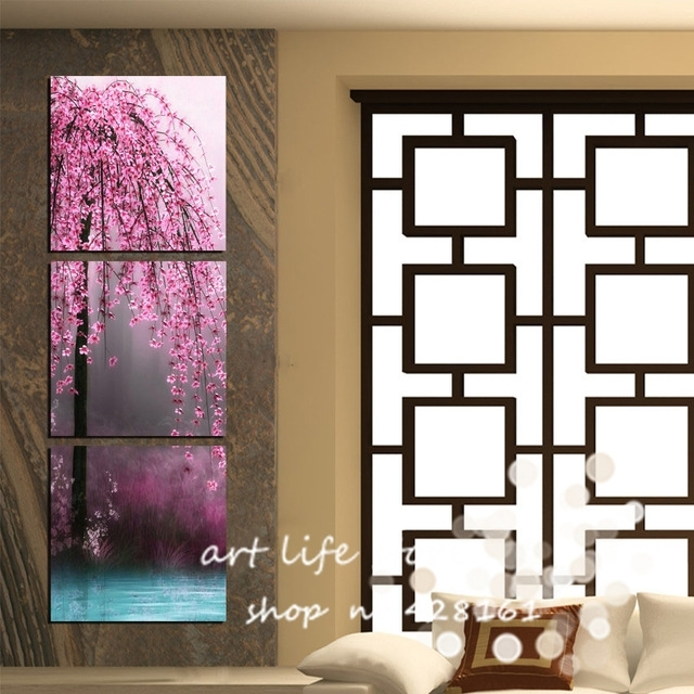 New Art 3 Pieces Canvas Wall Art On Canvas Pictures Painting Inside Vertical Wall Art (Image 5 of 10)