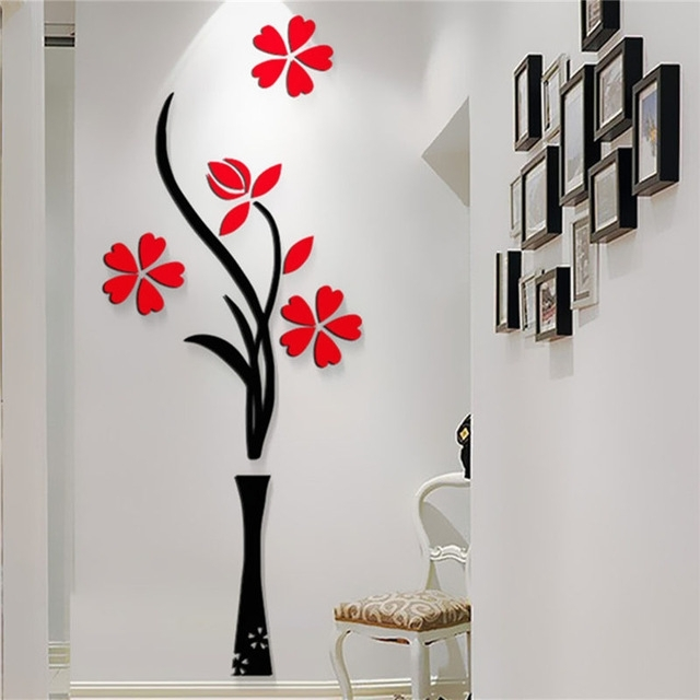 New Beautiful Design Red The Plum Flower Vase Acrylic Art Sticker 3D In Home Wall Art (Photo 5 of 10)