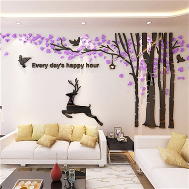 New Big 3D Acrylic Wall Stickers Tree Living Room Sofa Tv Background Regarding Acrylic Wall Art (View 8 of 10)