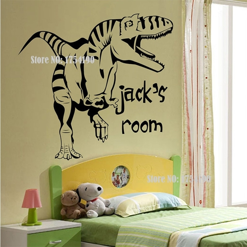 New Cartoon Removable Vinyl Wall Stickers For Kids Rooms Throughout Dinosaur Wall Art (Image 10 of 10)