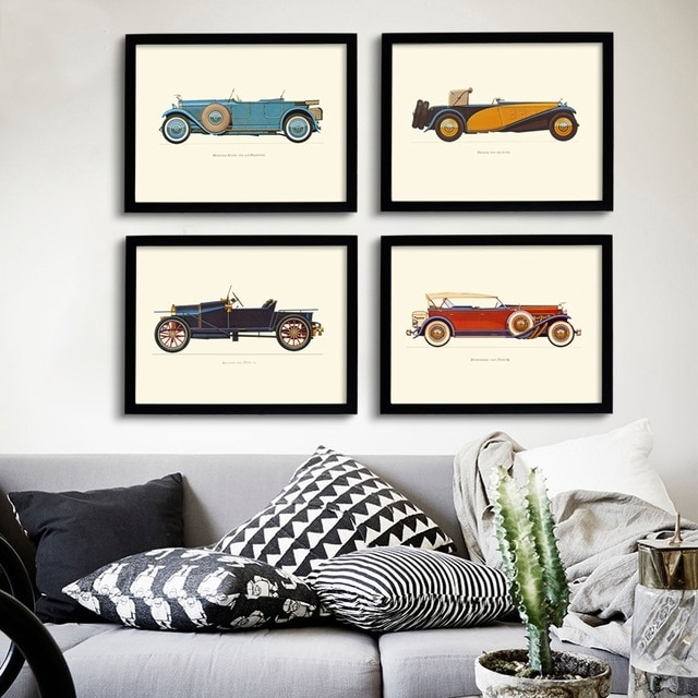 New Classic Cars Vintage Canvas Painting Posters Prints Oil Wall Art For Vintage Wall Art (Image 3 of 10)