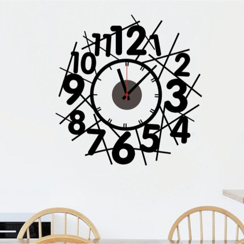 New Creative Abstract Diy Wallpaper Digital Wallpaper Clock Art Deco In Art Deco Wall Clock (View 9 of 10)