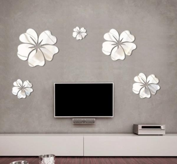 New Fashion Flower Mirror Wall Art Mural Decal Sticker Diy Home For Mirror Wall Art (Photo 8 of 10)