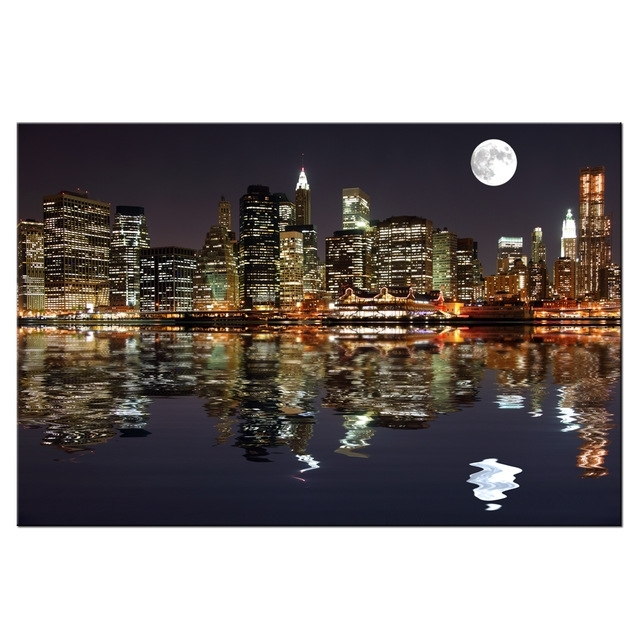 New York Night View Picture Canvas Prints Manhattan Skyline Moon Intended For New York Canvas Wall Art (Image 6 of 10)
