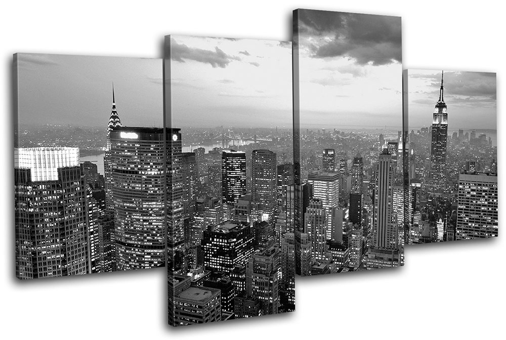 New York Nyc Skyline City Multi Canvas Wall Art Picture Print Va | Ebay Inside New York Wall Art (Image 6 of 10)
