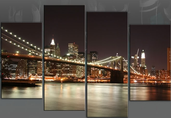 New York Reflections Xl Huge 60 Inch 153Cm Brooklyn Bridge 4 Panel For New York Canvas Wall Art (Image 8 of 10)