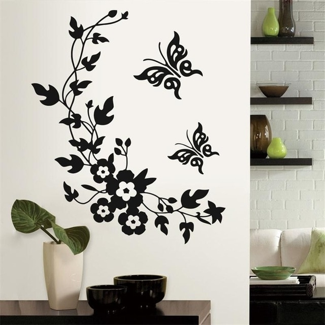 Newest Classic Butterfly Flower Home Wedding Decoration Wall Within Home Wall Art (Image 6 of 10)