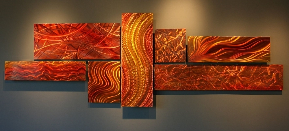Nicholas Yust Fine Metal Art – Organic Tides #nyt0054 Sale With Orange Wall Art (View 4 of 10)