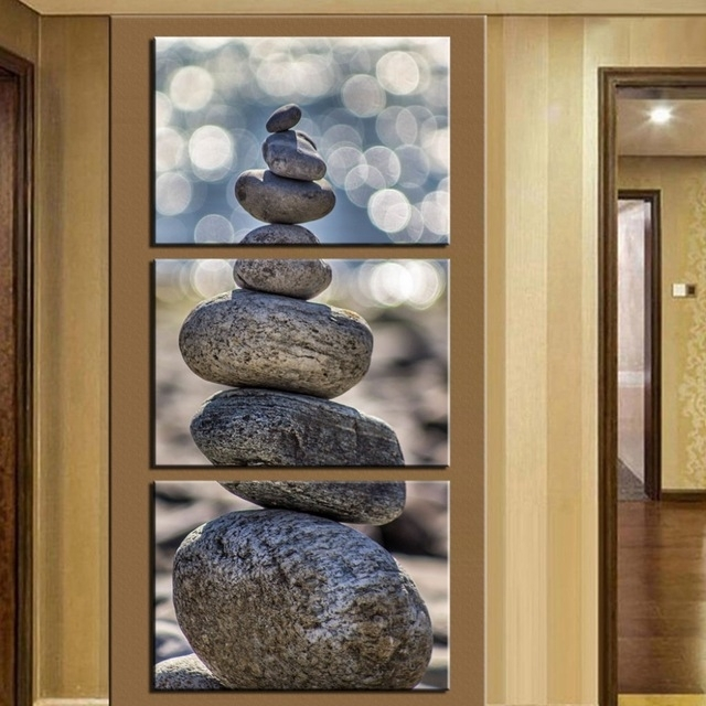 No Frame) 3 Piece Stone Scenery Modern Home Wall Decor Canvas Throughout Vertical Wall Art (Photo 4 of 10)