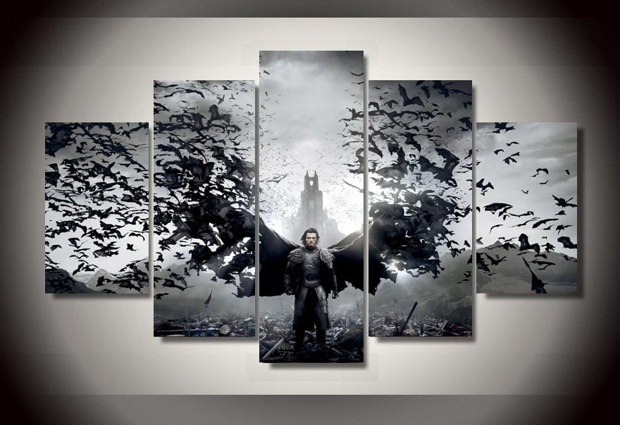 No Frame 5 Pieces Printed Dracula Untold Luke Evans Group Printed With 5 Piece Wall Art (View 9 of 10)