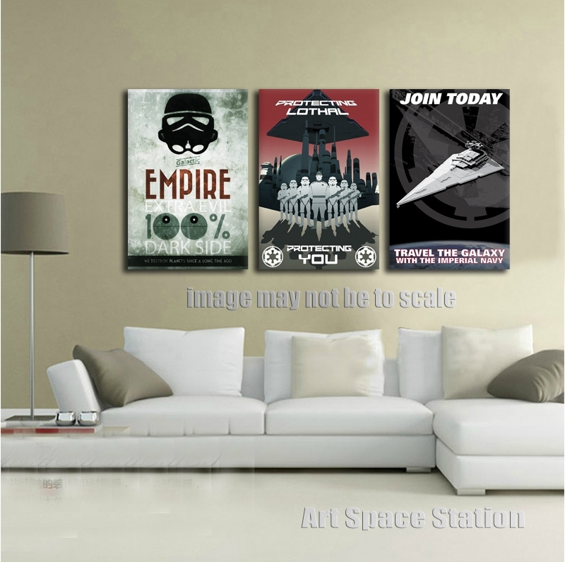 No Frame Black And White Poster Star Wars Empire Modern Canvas Wall With Star Wars Wall Art (View 7 of 10)