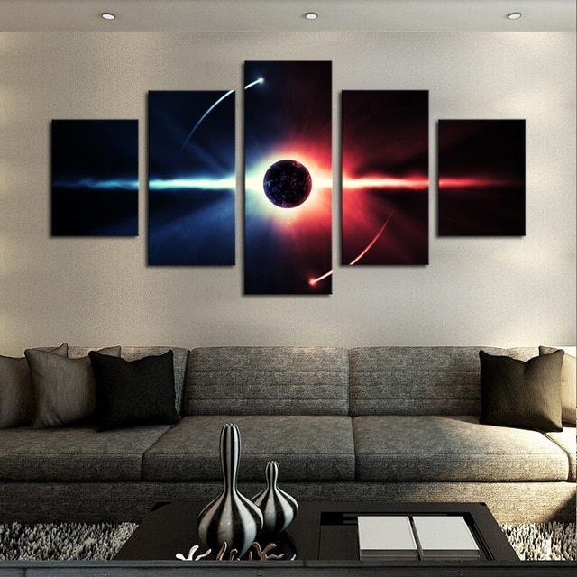 No Frame Large Hd Abstrac Planet Canvas Print Painting For Living With 5 Panel Wall Art (Image 9 of 10)