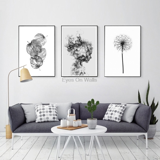Nordic Abstract Poster And Prints Black White Wall Art Canvas For White Wall Art (Image 4 of 10)