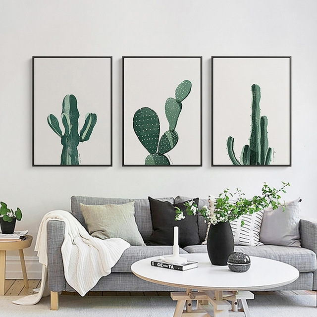 Nordic Minimalist Cactus Canvas Wall Art Poster Paintings Pop Art With Regard To Cactus Wall Art (Photo 6 of 10)