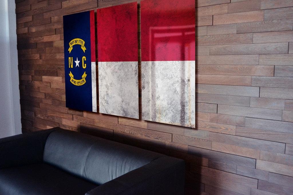 North Carolina State Flag Hanging Rustic Worn Metal Wall Art Gru Inside North Carolina Wall Art (Image 2 of 10)