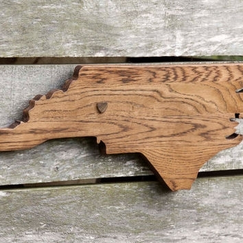 North Carolina State Shape Wood Cutout From State Your Love With Regard To North Carolina Wall Art (Image 3 of 10)