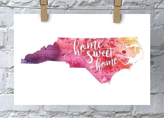North Carolina Wall Art Watercolor Map Home Decor Home Sweet | For With North Carolina Wall Art (View 7 of 10)
